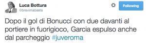 """Luca Bottura su Twitter: """"Dopo il gol di Bonucci con due davanti al portiere in fuorigioco, Garcia espulso anche dal parcheggio #juveroma"""" 2014-10-06 13-59-29"""