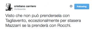 """cristiano carriero su Twitter: """"Visto che non può prendersela con Tagliavento, eccezionalmente per stasera Mazzarri se la prenderà con Rocchi."""" 2014-10-06 13-55-19"""